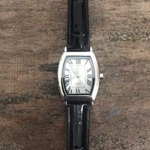 Accessories - Silver tone watch with black leather band
